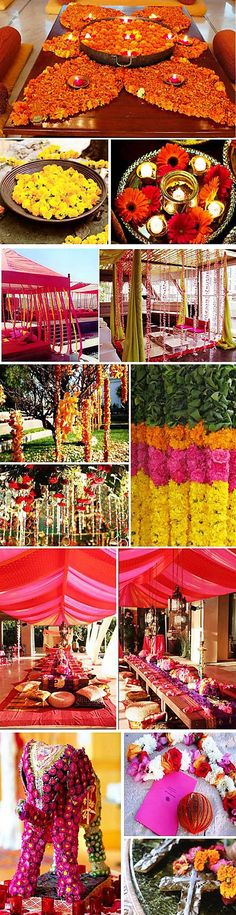 A wedding held in the heat of the Australian summer demands vibrant colors, wild decorations and marquees filled with breezy cloth, and the perfect wedding theme for the mid-summer heat is an Indian summer wedding theme Bollywood Party, Bollywood Wedding, Desi Wedding, Wedding Mandap, Bollywood Style, Wedding Receptions, Indian Wedding Decorations, Wedding Themes, Flower Decorations