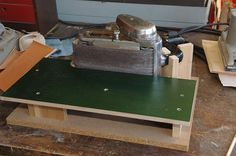 Turn your hand held belt sander into a bench sander. Add a fence and stop block too.