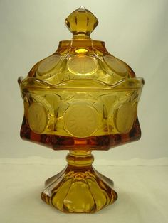 Amber Fostoria Footed Compote