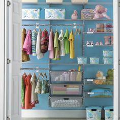 Baby Closet - Shelves and Pull-Out Drawers Nursery Closet Organization, Home Organization, Wardrobe Organisation, Organizing Ideas, Closet Shelves, Closet Storage, Entryway Closet, Rustic Entryway, Bathroom Closet
