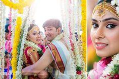 South Indian bride. Hindu bride. Tamil bride.Silk kanchipuram sari. Jhumki. Gold temple Jewelry. Fresh flowers in hair. Flower garland.