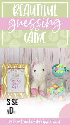 If you want a memorable party game, the magical unicorn baby shower guessing game jar cards are for you; floral guessing cards are fun for a kids birthday party, baby games for baby shower; glitter guess how many kisses in the jar cards, baby girl baby shower decorations, pink and gold guess how many baby shower games for girls, magic pastel guessing games, fantasy sparkly baby shower ideas, cute girly party games, guess how many kisses game baby shower supplies baby shower decorations for girls Baby Shower Guessing Game, Easy Baby Shower Games, Baby Shower Candy, Unicorn Baby Shower, Guessing Games, Baby Shower Activities, Baby Games, Gender Reveal Party Supplies, Baby Gender Reveal Party