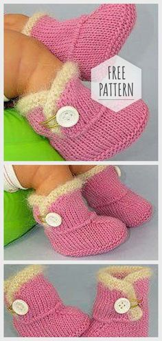 Knitting Booties for Baby Stricken Booties für Baby Small Knitting Projects, Knitting For Kids, Easy Knitting, Sewing Projects For Kids, Sewing Ideas, Easy Blanket Knitting Patterns, Baby Booties Knitting Pattern, Knit Baby Booties, Knitting Patterns For Babies