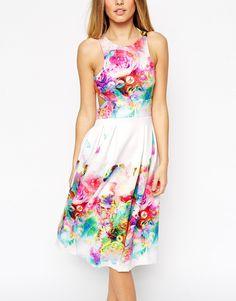 Image 4 ofASOS Digital Floral Placed Racer Back Dress