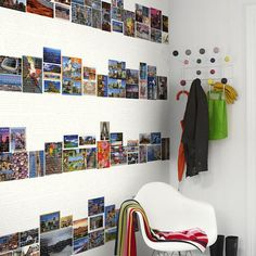 City skylines made from various postcards for the guest room or mud room... nifty!