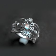 Chic Antique Art Deco Moonstone Sterling Silver Promise Ring [100733] - $95.00 : jewelsin.com