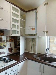 Interior Design Kitchen, Kitchen Decor, Kitchen Ideas, Small Kitchenette, Corner Cupboard, Hidden Kitchen, Small Kitchen Organization, Studio Kitchen, Apartment Kitchen