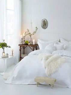 Cosy bedroom romantic · dream bedroom · light & bright: a gallery of all white bedrooms all white bedroom, white rooms All White Bedroom, White Rooms, Bedroom Simple, Pretty Bedroom, White Walls, Bedroom Romantic, Bedroom Green, Whimsical Bedroom, Peaceful Bedroom