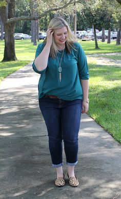 Teal and Polka Dots: Play up leopard loafers with a simple emerald top, tassel necklace and cropped jeans.