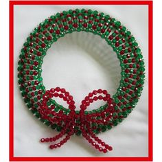 Christmas Beaded Wreath Safety Pin and Beading Pattern / Tutorial PDF Step-by-Step Detailed Instruct Beaded Christmas Decorations, Christmas Ornament Crafts, Beaded Ornaments, Holiday Ornaments, Vintage Decorations, Christmas Tea, Christmas Wreaths, Safety Pin Crafts, Safety Pin Jewelry