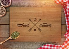 Custom Cutting Board - Personalized Wedding Gift for Couple - Monogram…