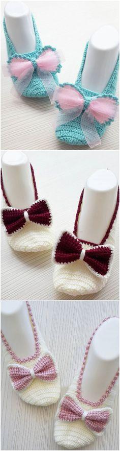 Crochet Bow Slippers