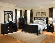 Madera Modern Black Wood 5pc Bedroom Set w/King Sleigh Bed
