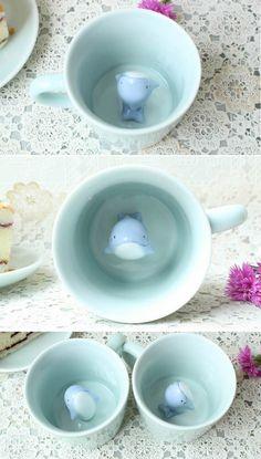 Cute Dolphin Figurine Ceramic Coffee Cup Pottery Mugs, Ceramic Pottery, Ceramic Art, Ceramics Projects, Clay Projects, Clay Mugs, Ceramic Coffee Cups, Novelty Mugs, Tea Pots