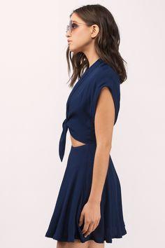 Dresses, Tobi, Navy Rebel Front Tie Skater Dress