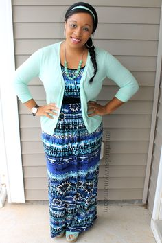 blue and black printed maxi dress with mint cardigan and mint wedge sandals. Modest outfit idea