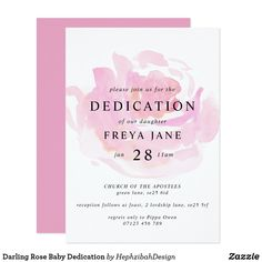 Shop Darling Rose Baby Dedication Invitation created by HephzibahDesign. Zazzle Invitations, Bridal Shower Invitations, Party Invitations, Baby Dedication Invitation, Elegant Bridal Shower, Watercolor Rose, Top Gifts, White Envelopes, Pink Roses