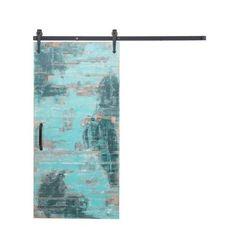 Rustica Hardware 36 in. x 84 in. Reclaimed Aqua Wood Barn Door with Arrow Sliding Door Hardware Kit-K1H33070AA6DF - The Home Depot