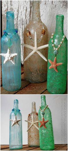 Textured Beachy Wine Bottles