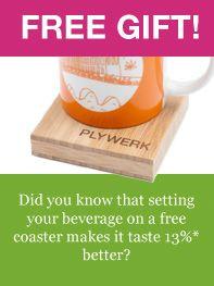 Free bamboo coaster on the Plywerk Blog!