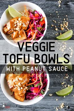 Looking for a meatless meal that will fill you up? Veggie Tofu Bowls With Peanut Sauce is a colorful, plant-based dish has protein-packed tofu and nutritious veggies on a layer of brown rice. Topped with a creamy savory-sweet peanut sauce, this dish delivers on flavor as well as nutrition. Make this meal tonight! Easy Healthy Recipes, Quick Easy Meals, Vegetarian Recipes, Delicious Recipes, Free Recipes, Peanut Sauce, Vegetable Recipes, Tofu, Dinner Recipes