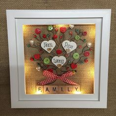 9 LED light box frame personalised family tree scrabble