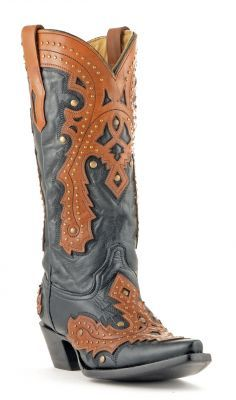 Womens Corral Overlay Cowboy Boots Black And Brown #A1199 | Allens Boots
