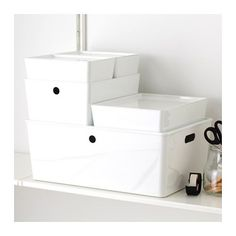 KUGGIS Box with lid, white