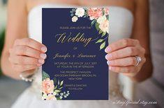 Printable Navy Blue Peach Cream Floral Wedding Invitation
