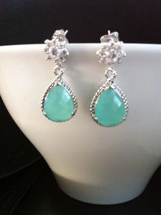 Faceted Mint Glass and Zirconia Dangle earrings by SwamiJewelry, $30.00