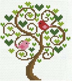 Tree of Love Birds in a Tree): A Cross Stitch Chart by PinoyStitch Cross Stitch Tree, Cross Stitch Cards, Cross Stitch Flowers, Loom Patterns, Cross Stitch Patterns, Hexagon Quilt Pattern, Stitch Delight, Fair Isle Chart, Knitting Paterns