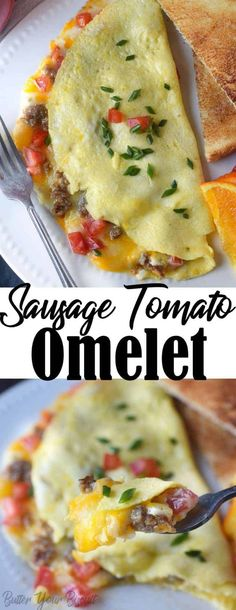 Sausage tomato cheese omelet gives us a reason to get up in the morning. Simple and an easy breakfast the whole family will love. Savory Breakfast, Breakfast Dishes, Breakfast Recipes, Breakfast Ideas, Breakfast Time, Raspberry Salad, Omelette Recipe, Tomato And Cheese, Easy Dinner Recipes