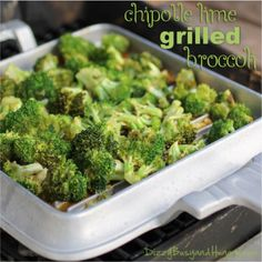 Chipotle Lime Grilled Broccoli - Zingy and tangy vegetable side dish perfect for your next barbecue or even just a nice summer dinner out on the patio!
