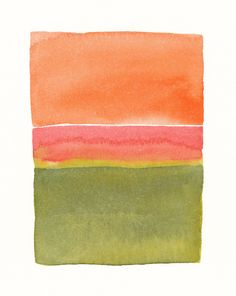 Original Watercolor Painting  by Malissa Ryder with moss greens, pink and orange color block shapes