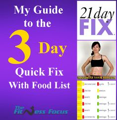 Guide to the 21 Day Fix 3 Day Quick Fix Plan With Food Guide. Finish the 21 Day Fix with this plan to get your best results possible. www.thefitnessfocus.com