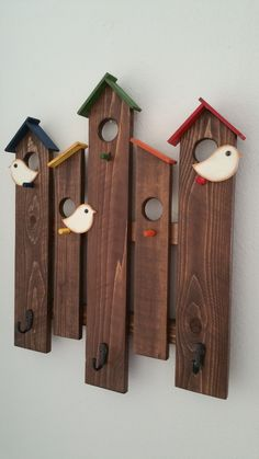 Coat Rack, wall rack, Birdhouse wall rack, wood wall rack, wood coat rack by CountryChicBowtic on Etsy Super cute birdhouse wooden wall rack for any room in your home or office. It measures high and wide and will hold up to Custom colors are available. Outdoor Wood Projects, Scrap Wood Projects, Woodworking Projects, Pallet Projects, Fine Woodworking, Pallet Ideas, Wood Ideas, Woodworking Furniture, Diy Pallet