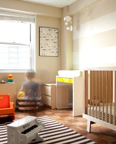 My friend Samantha's son's room - also with the stripes, and more specifically with the neutral stripes we'd been leaning towards lately.