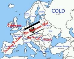 Prussia, Austria, and Hungary's map. (I can't stop laughing at Austria's descriptions, especially Russia's. Spamano, Usuk, Hetalia Funny, Prussia Hetalia, Gilbert Beilschmidt, Bad Touch Trio, Hetaoni, Hetalia Characters, Hetalia Axis Powers