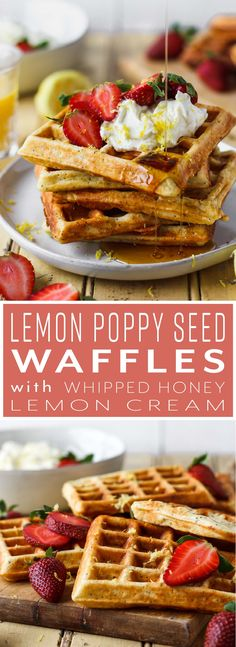Fluffy on the inside and crisp on the outside, these lemon poppy seed waffles are a definite crowd pleaser! Topped with whipped honey lemon cream that's bursting with fresh lemon flavor and just the right touch of sweetness. It's like summer in your mouth. #breakfast #brunch #waffles #lemonpoppyseed