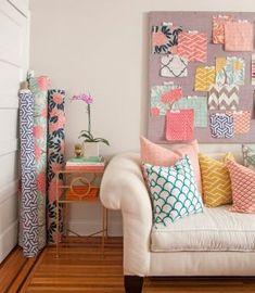 Coral, Mustard, Grey, & Navy Fabrics & Textiles via Caitlin Wilson // gorgeous