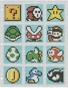 Super Mario cross stitch patterns