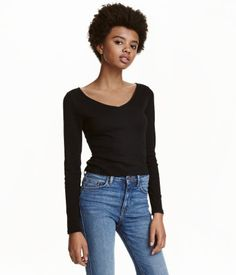 V-neck Jersey Top | Black | Ladies | H&M US