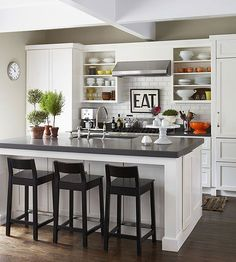 Subtle layers of detail create a space that is tailored yet friendly: http://www.bhg.com/decorating/decorating-photos/kitchen/compact-kitchen/?socsrc=bhgpin020915compactkitchen&kitchen