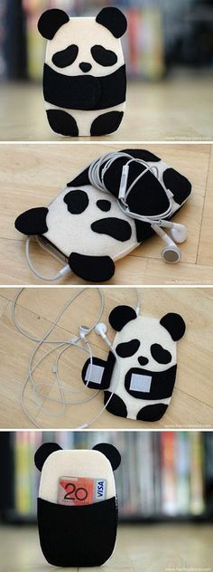 Inspiration for panda/phone/card case! Inspiration for panda/phone/card case! Felt Diy, Felt Crafts, Pochette Portable, Ipod Holder, Headphone Holder, Earbud Holder Diy, Sewing Crafts, Sewing Projects, Diy Couture