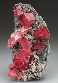 Rhodochrosite - Sweet Home Mine, Alma, Park County, Colorado, USA On a Quartz… Minerals And Gemstones, Rocks And Minerals, Beautiful Rocks, Mineral Stone, Rocks And Gems, Stones And Crystals, Gem Stones, Creations, Geology