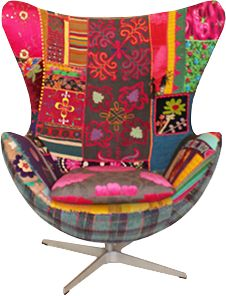 Pieced and patched on pinterest patchwork chair - Fauteuil design colore ...