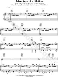 Adventure of a Lifetime sheet music by Coldplay