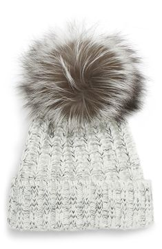 A plush, genuine fox-fur pom adds swank softness to this cozy cable-knit beanie. Kyi Kyi Cable Knit Beanie With Genuine Fox Fur Pom Stylish Winter Boots, Winter Hats, Edgy Dress, Grey Gloves, Benjamin Moore Colors, Layered Bob Hairstyles, Pom Pom Hat, Dear Santa, Fur Collars