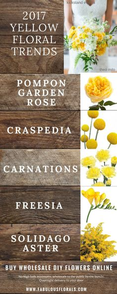 2017 yellow wedding flower trends! http://www.fabulousflorals.com The DIY bride's #1…