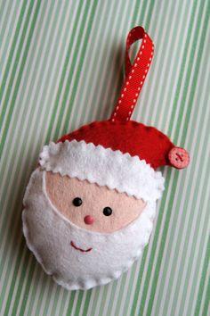 Smiling Felt Santa Decoration
